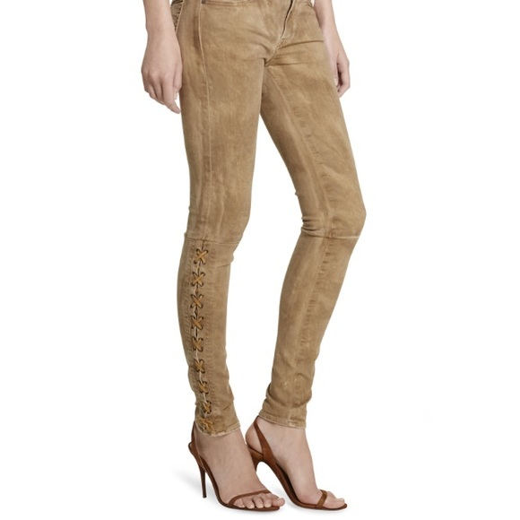 5955b4f348 Ralph Lauren Tompkins leather lace-up skinny jeans